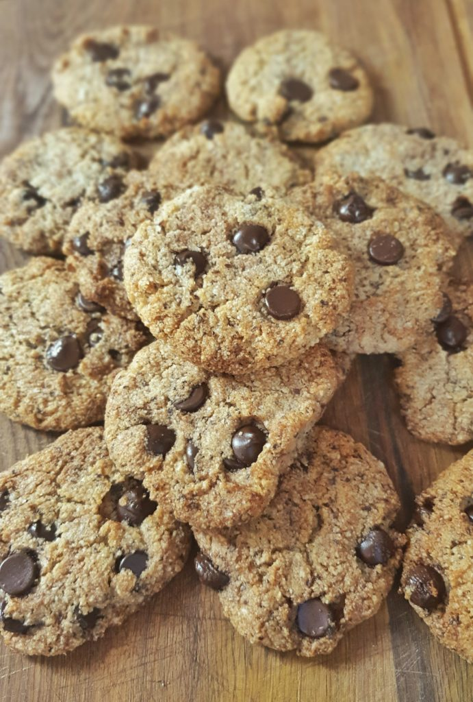 Chocolate chip cookies on wooden board