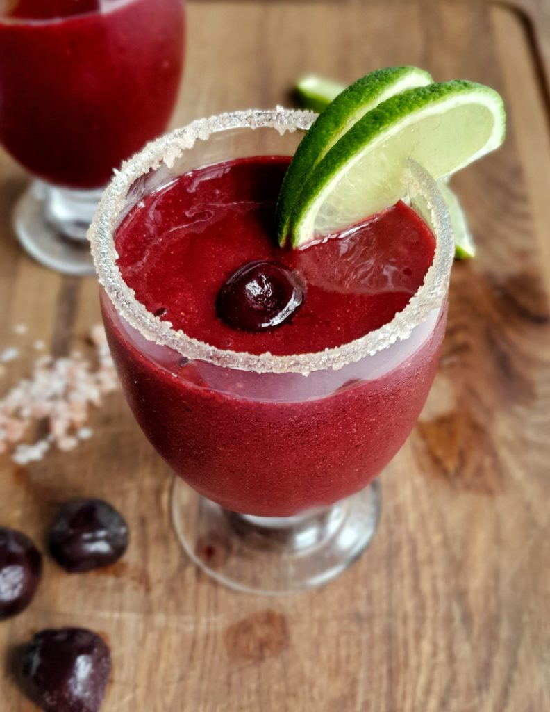 Dark cherry frozen margarita