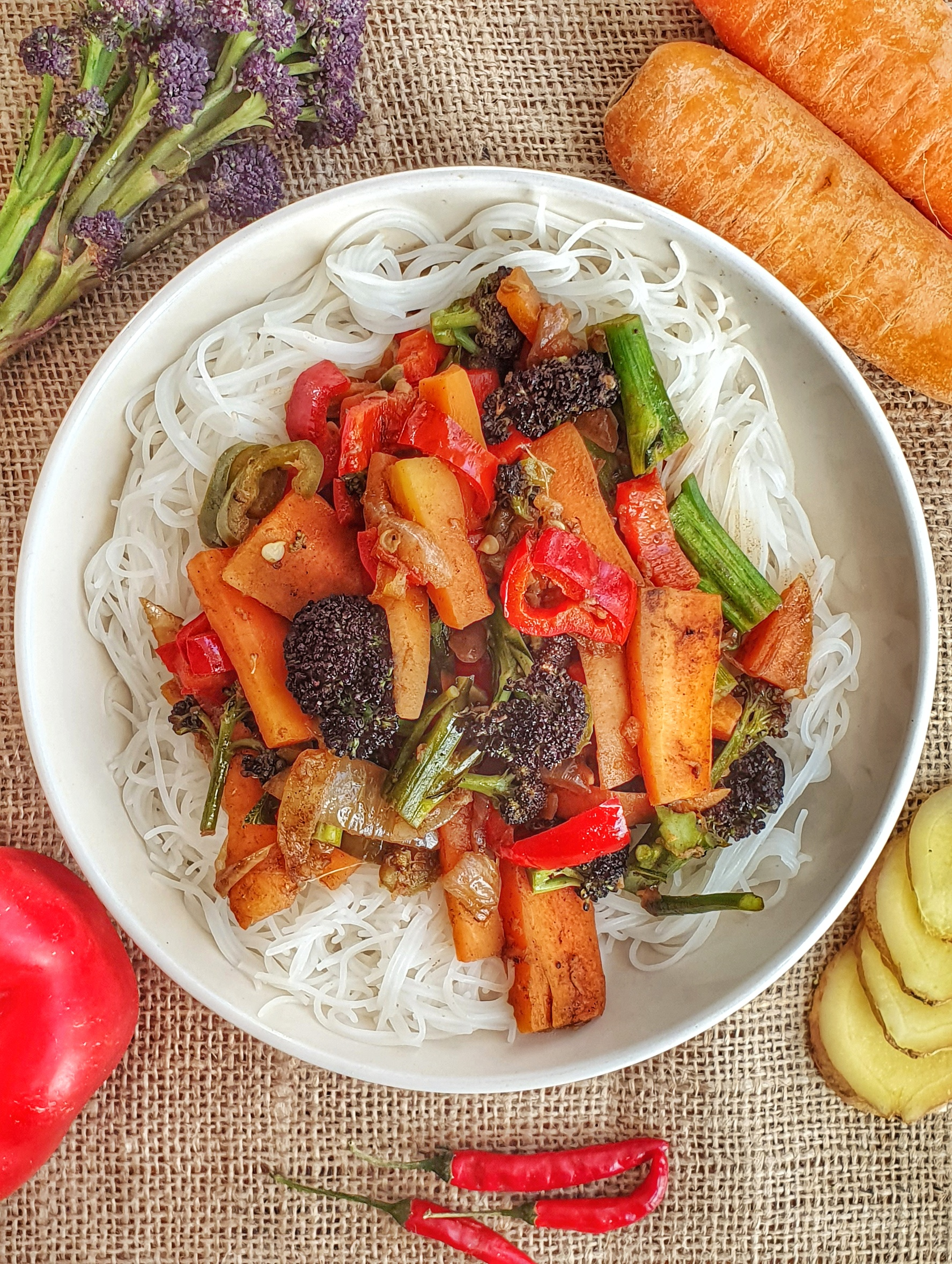 aerial shot of vegan stir fry