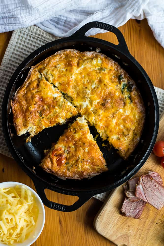 ham and cheese frittata in cast iron, sliced.